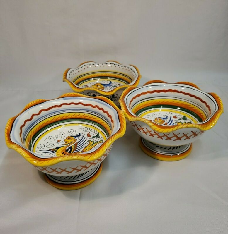 Labor Deruta Italy Pottery Ice Cream Soup Bowl Mid Century Hand Painted Set Of 3