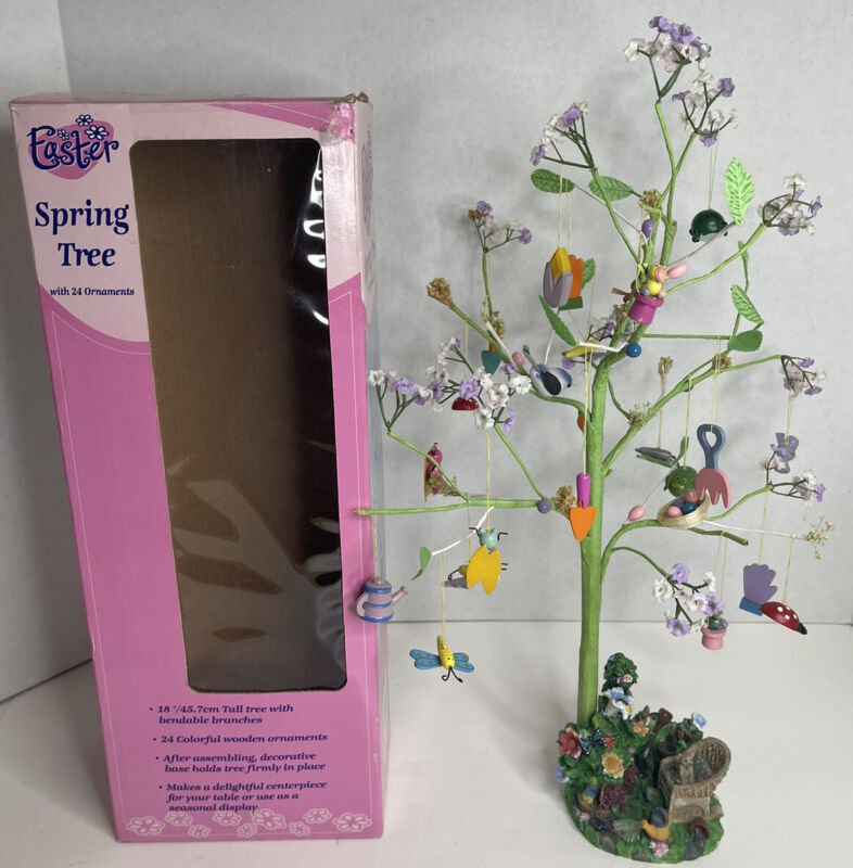 """Vintage Spring Easter Tree 18"""" Tall w/ 24 Wood Ornaments w/box"""