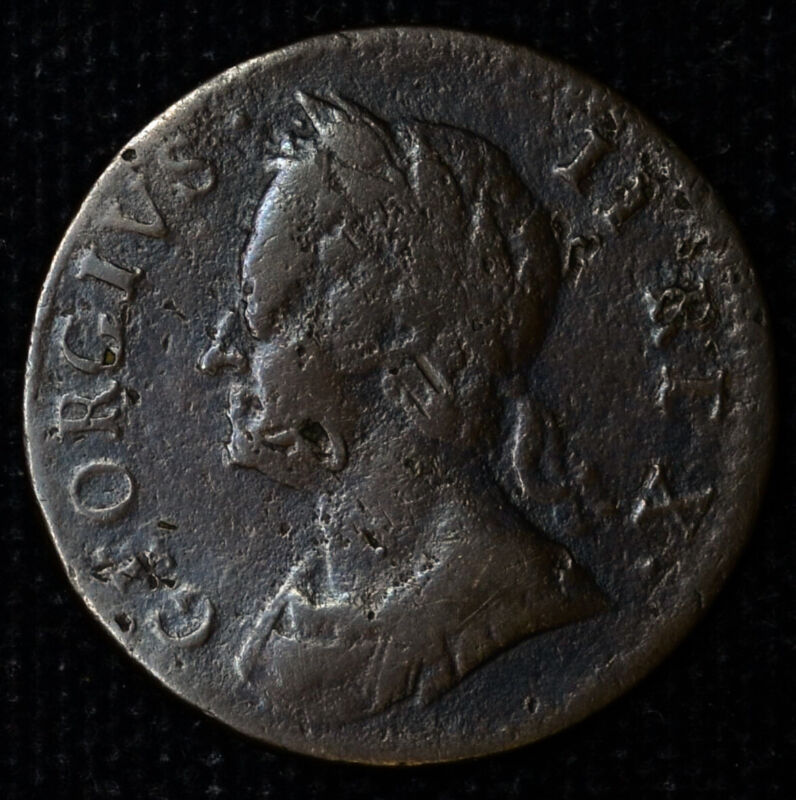 Great Britain 1 Farthing 1754 VF XF copper KM#581.2 1/4P George Colony