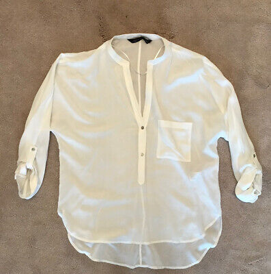 ZARA Womans White 3/4 Sleeve Blouse - Size XS