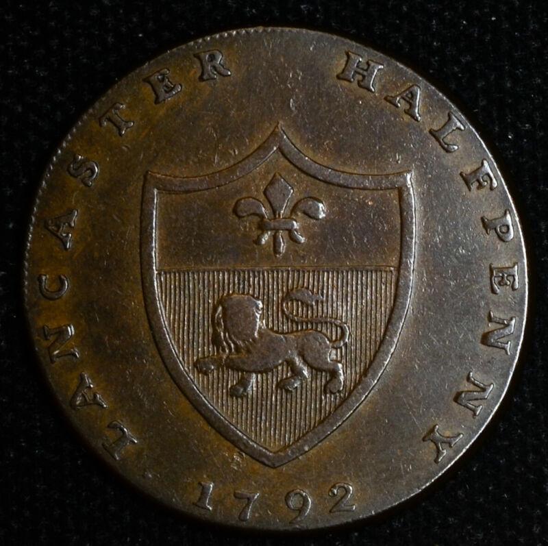 Conder Token Great Britain-Lancashire 1/2d Penny 1792 D&H#31a Lancaster Gaunt