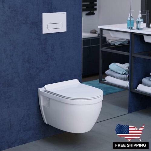 Wall Mount Hung Toilet Glossy White Ceramic Dual Flush