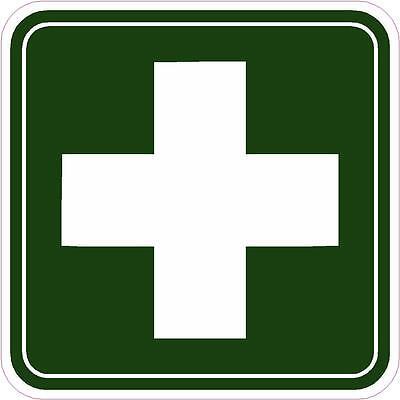 Grünes Kreuz,. Medizin. Aufkleber,  für Erstehilfe Schrank