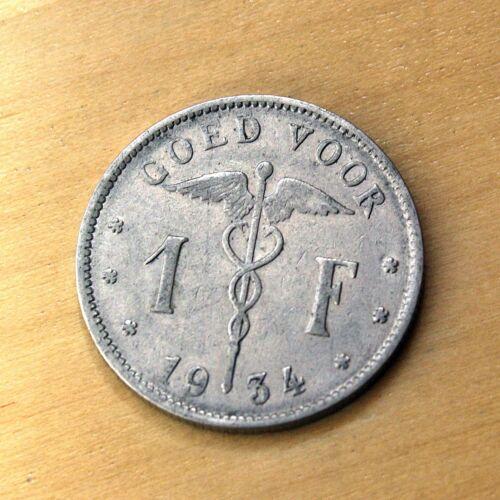 1934 Belgium 1 Franc Legend in Dutch