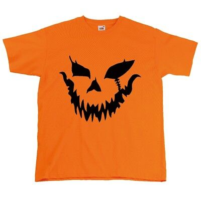 Déguisement Halloween Yeux Citrouille Masque Visage Motif Homme Orange Haut - Deguisement Homme Halloween