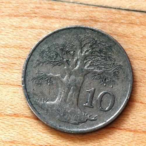 1980 Zimbabwe 10 Cents Baobab tree