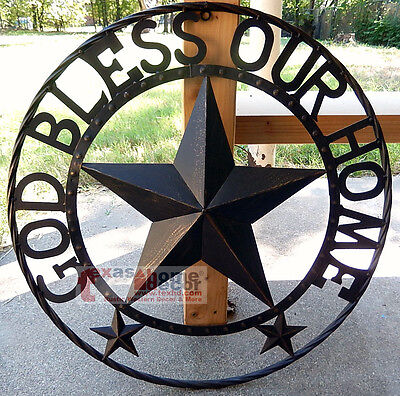 GOD BLESS OUR HOME Metal Barn Star Rustic Brown Texas Rope Ring Wall Decor 24""