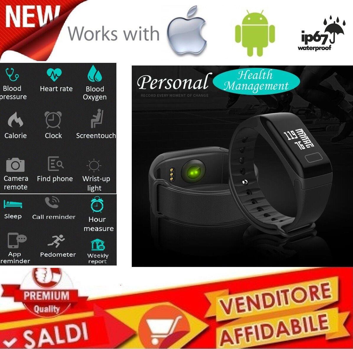 Fitness Tracker Smart Sport Orologio frequenza cardiaca Pressione sanguigna IP67