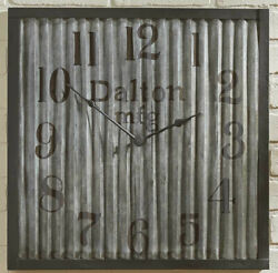 Industrial/ Steam Punk  Galvanized Crimped Metal Wall Clock, 20 Square