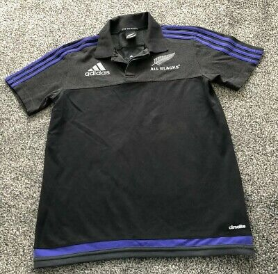 New Zealand All Blacks Adidas Rugby Union Polo Shirt Top - Adults Size Small S