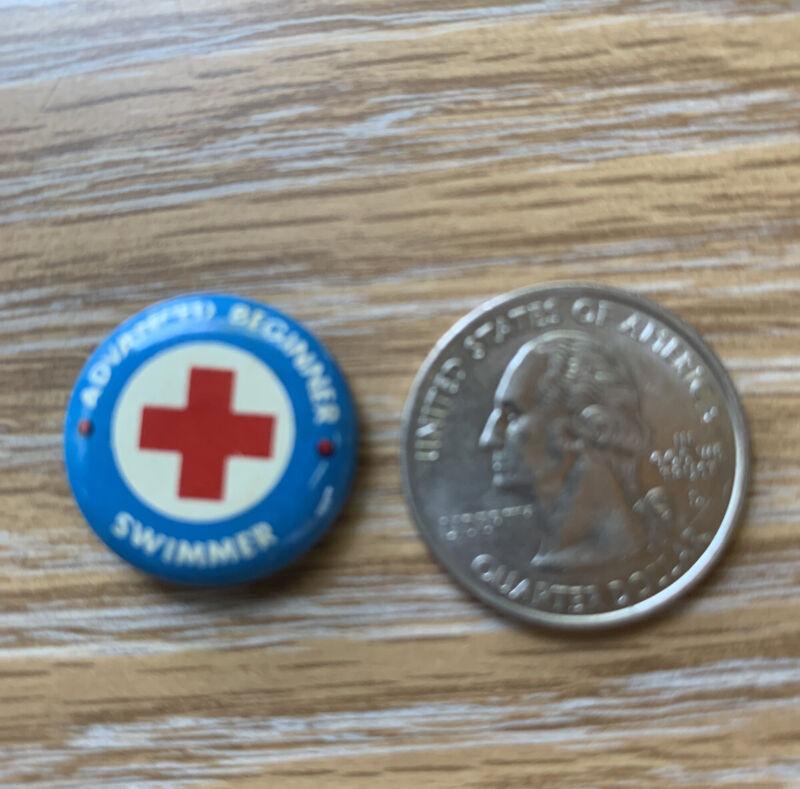 Vintage Red Cross Advanced Beginner Swimmer Button Pin