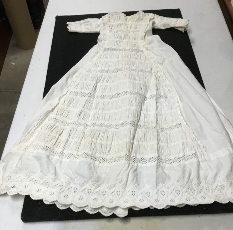 """ANTIQUE VICTORIAN Style 32""""L CHRISTENING Gown PIn Tuck EYELET BABY DRESS"""