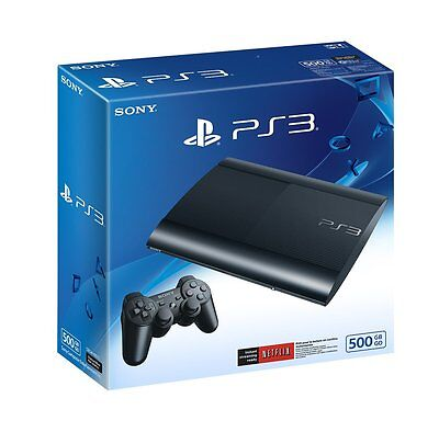 Sony PlayStation 3 Super Slim 500 GB Console, Charcoal Black, PS3, Brand New