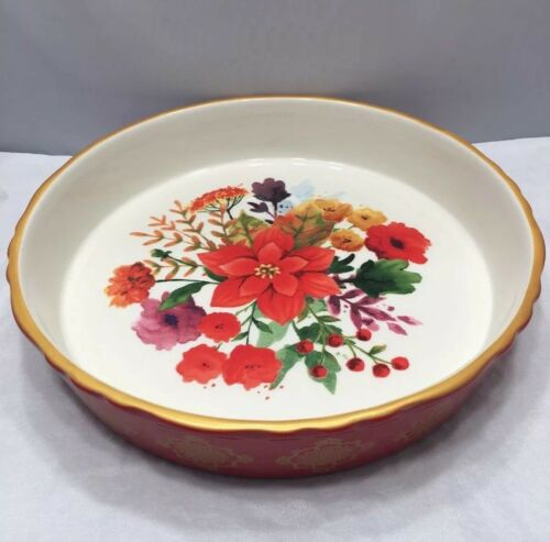 Pioneer Woman Winter Bouquet Holiday 9-Inch Baking Dish Stoneware Pie Pan Red