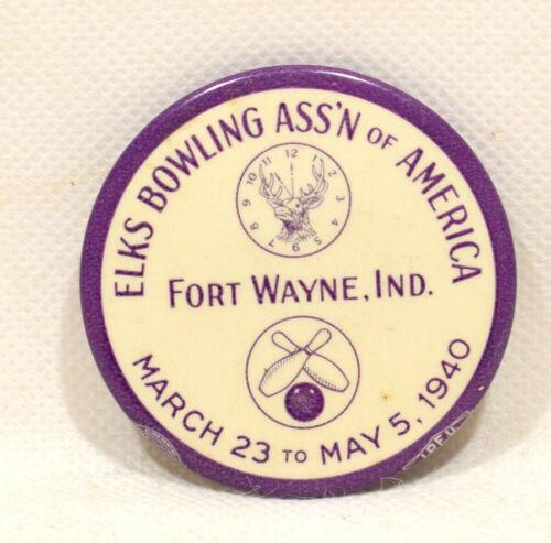 "1940 ELKS BOWLING ASSN Fort Wayne IN Pinback Button 2.25"""