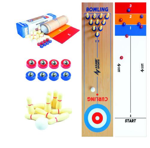 AGameSports 3 in 1 Shuffleboard/Bowling and Curling Board Game Mat