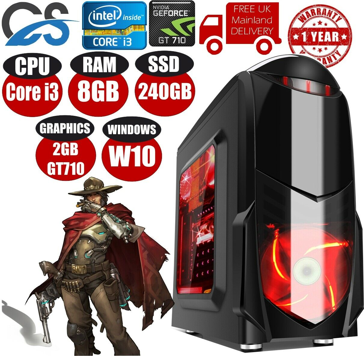 Computer Games - FAST Gaming Computer PC Intel Core i3 8GB 240GB SSD Windows 10 2GB GT710