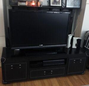 Elegant Dark Brown Solid Wood leather TV Stands