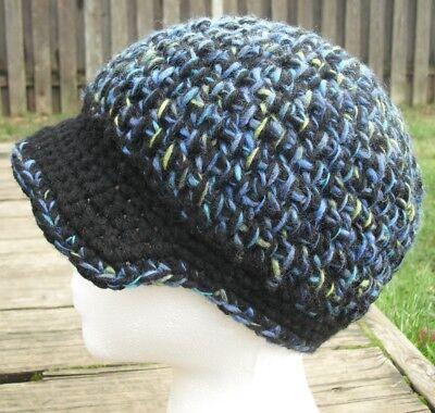 Головной убор Woolen Mix Blue/Black/Green Crocheted
