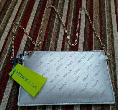 BN VERSACE Ladies Designer Silver Pink Stylish Logo Chain Evening Handbag Clutch