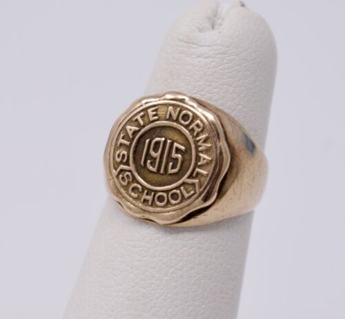 """Antique 1915 Signet Style Pinkie Class Ring """"State Normal School"""" 14k Gold sz. 3"""