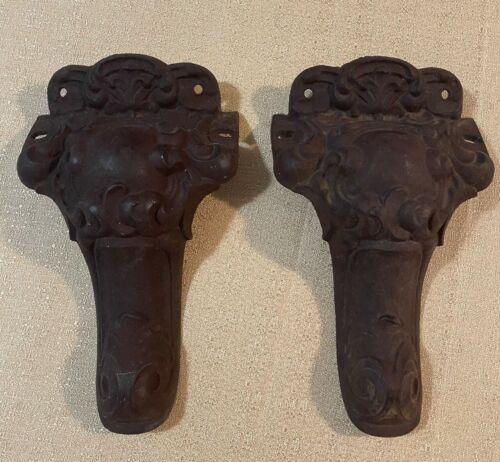 "Antique Ornate Victorian Cast Iron 10"" Stove Legs - Lot of (2)"