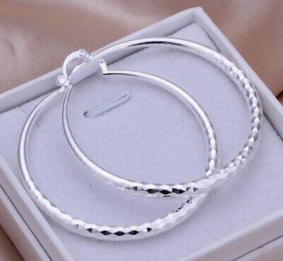Diamond Cut 925 Sterling Silver Hoop Pierced Big Earrings Stylish Women