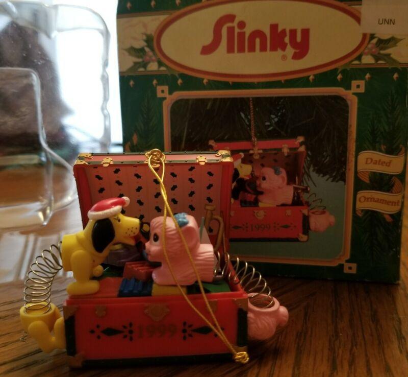 Enesco Christmas Treasures Ltd Collection SLINKY TOYS 1999 ornament dog cat Box