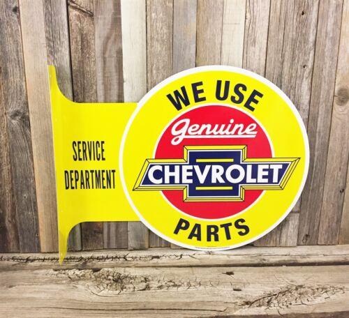 Chevrolet Chevy Parts Large Flange Yellow Metal Tin Sign Vintage Garage Man Cave