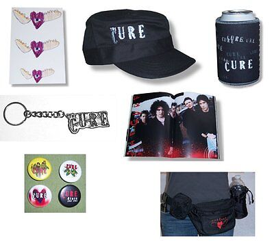 Cure 7 Piece Gift Set Large/Xl Hat Tour Book Button Can Cooler Keychain -