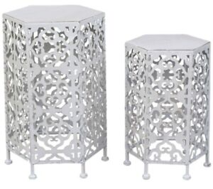 Mini Moroccan White Hex Nesting Side Tables Set Coffee Boho Hamptons Camp Hill Brisbane South East Preview
