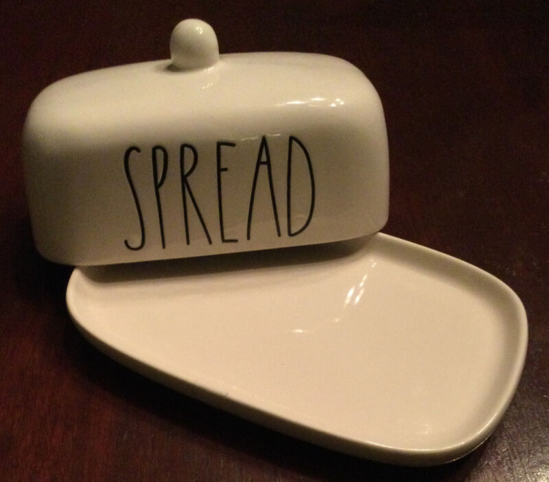 """NWOT Rae Dunn """"Spread"""" Covered Mini Butter Dish"""