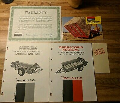 New Holland Manure Spreader Assembly Operators Model 510 516 Complete Manuals