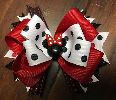 Minnie Mouse Stacked Boutique Hair Bow Red Dots Disney Girl Clip Glitter (Red Glitter Bow)