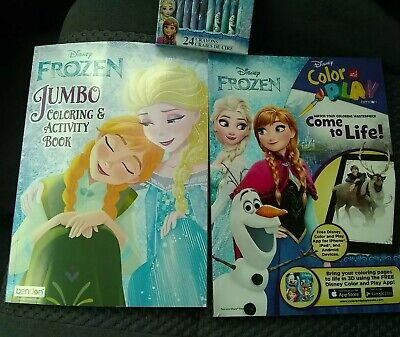 Disney Frozen Coloring Books 24 Crayons new unused 2017 2018 Girl Scouts of NJ ()