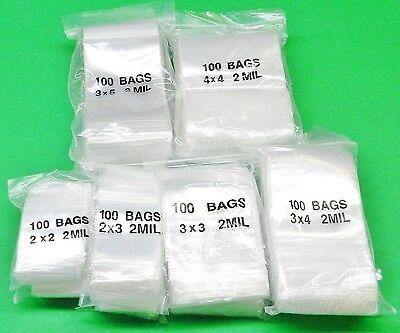 1200 Ziplock Bags 2mil Clear Assorted Sizes 2x2 2x3 3x3 3x4 3x5 4x4 - 200 Each