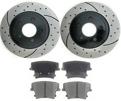 Pair (2) Performance Drilled And Slotted Rear Rotors & Ceramic Brake Pads