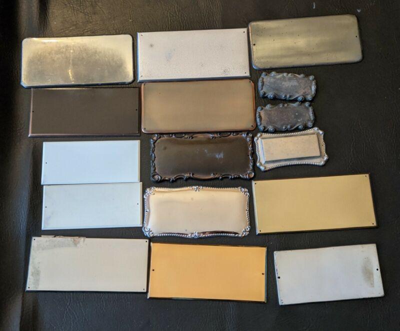 Lot of 16 Antique Coffin Casket Funeral Plaque Silver Copper Enamal Macabre