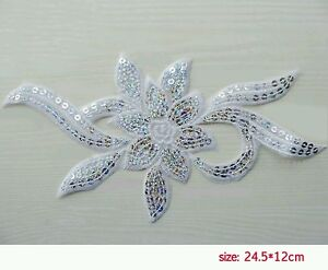 LARGE Iron on Flower Sequin Embroidered Patch Applique Motif Trim - WHITE