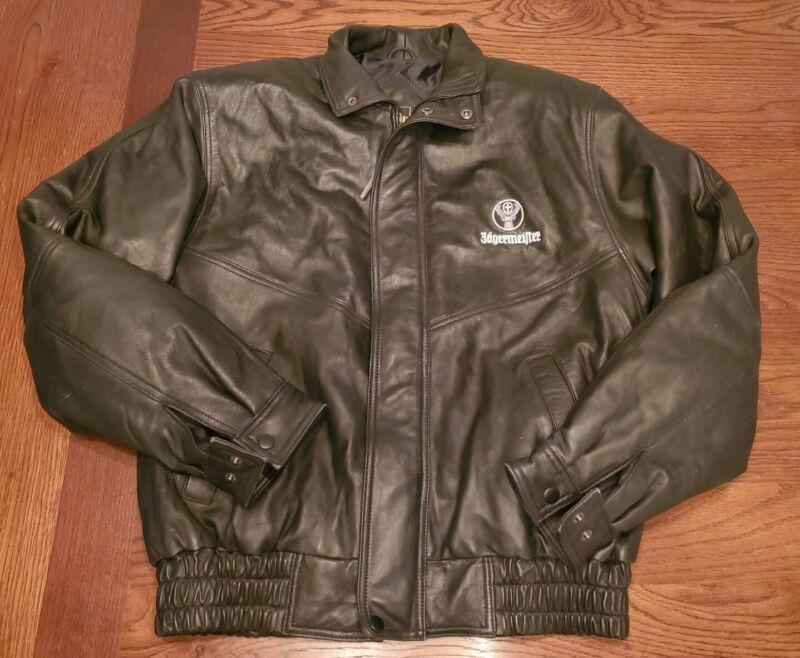 Medium Black Leather Jagermeister Jacket with White Deer Logo Zip Up