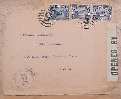 Mayfairstamps El Salvador 1918 to US Censored WWI Cover wwo86833