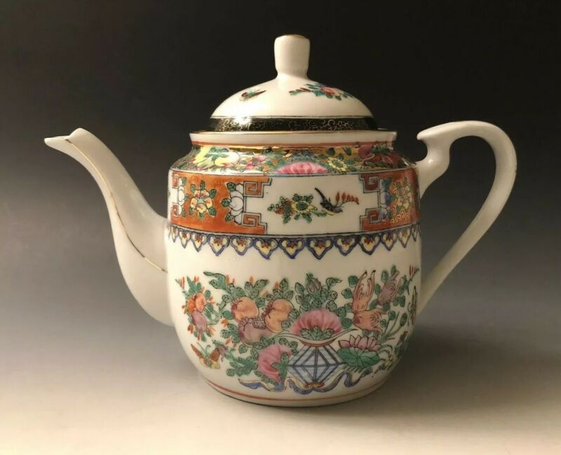 Vintage Chinese Hand Painted Decoration Famille Rose Teapot