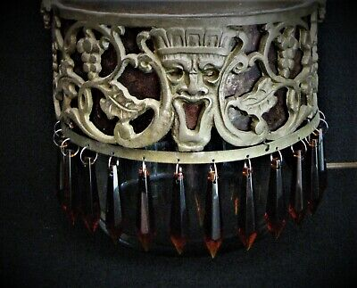 EXTREMELY RARE DECO MICA LINED OSCAR BACH ' BACCHUS ' PENDANT CHANDELIER / LAMP