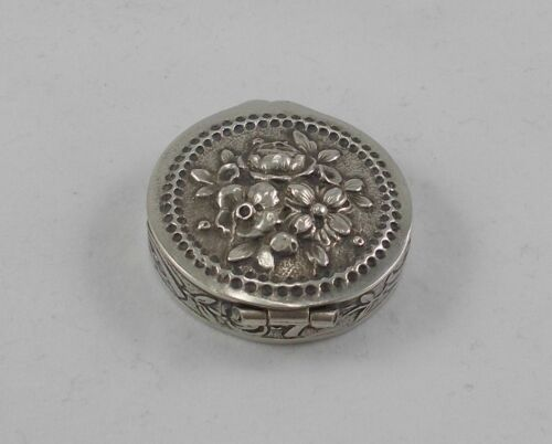 Rare Small Jewellery Pill Container With Rosenmotiven IN 800er Silver Priest &