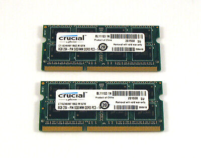 "Crucial 16GB 2X 8GB PC3-14900S 1866MHz Apple Retina 5K iMac Late 2015 27"" Memory"