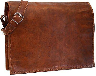 Genuine Leather Messenger Satchel Laptop Crossbody Shoulder Bag for Men Brown