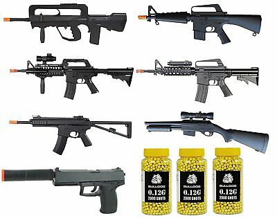 Best Airsoft 10 Pack - SPRING RIFLES Shotguns Pistols & 6000 BBs M16 FAMAS