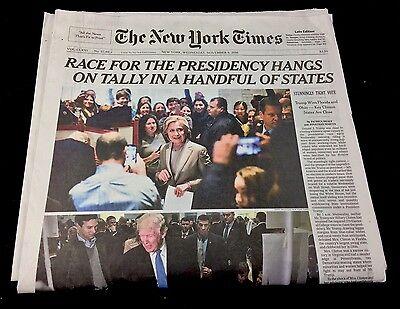 NEWSPAPER-NEW YORK TIMES-NOVEMBER 9, 2016-DONALD TRUMP-HILARY CLINTON-ELECTION