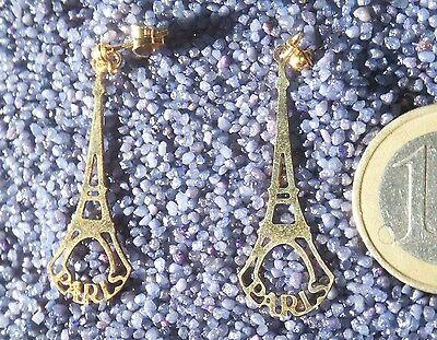 Souvenir Paris Ohrring echt vergoldet Gold NEU Tour Eiffel (Eiffelturm Ringe)