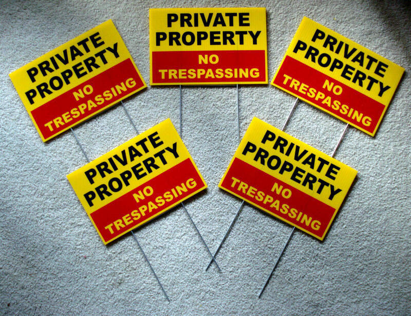 """5 PRIVATE PROPERTY NO TRESPASSING  w/Stakes  8""""x12"""" Plastic Coroplast  Safety y"""